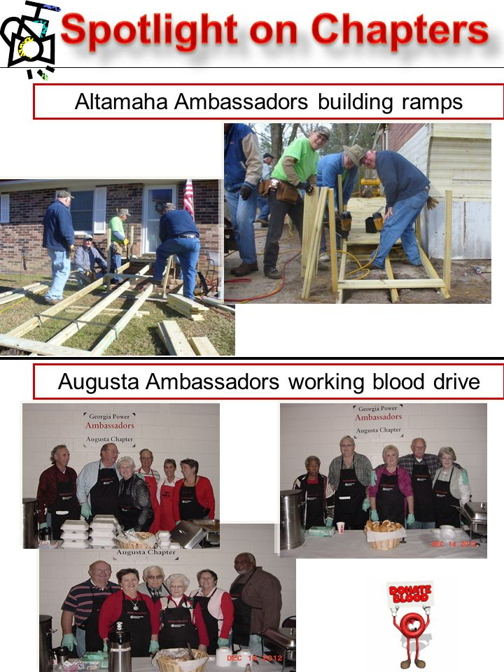 Altamaha Ambassadors building ramps Augusta Ambassadors working blood drive