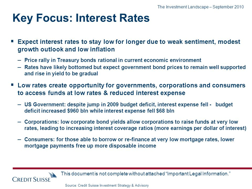 The Investment Landscape – September 2010 This document is not complete without attached Important Legal Information. Expect interest rates to stay lo