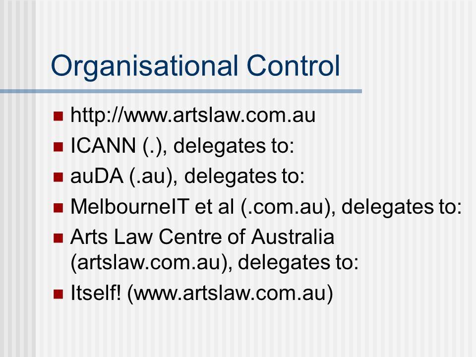 Organisational Control http://www.artslaw.com.au ICANN (.), delegates to: auDA (.au), delegates to: MelbourneIT et al (.com.au), delegates to: Arts Law Centre of Australia (artslaw.com.au), delegates to: Itself.
