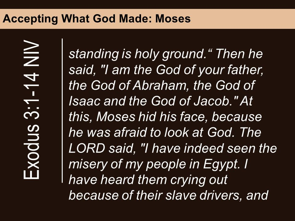 Accepting What God Made: Moses standing is holy ground.