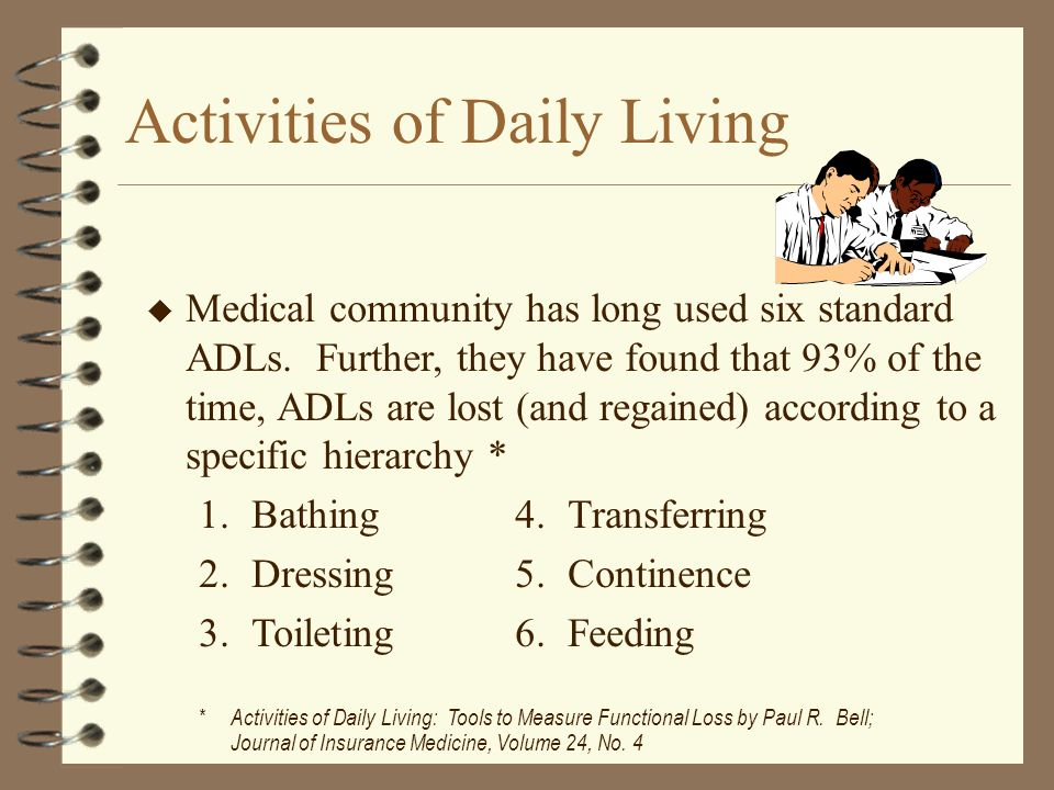 u u Medical community has long used six standard ADLs.