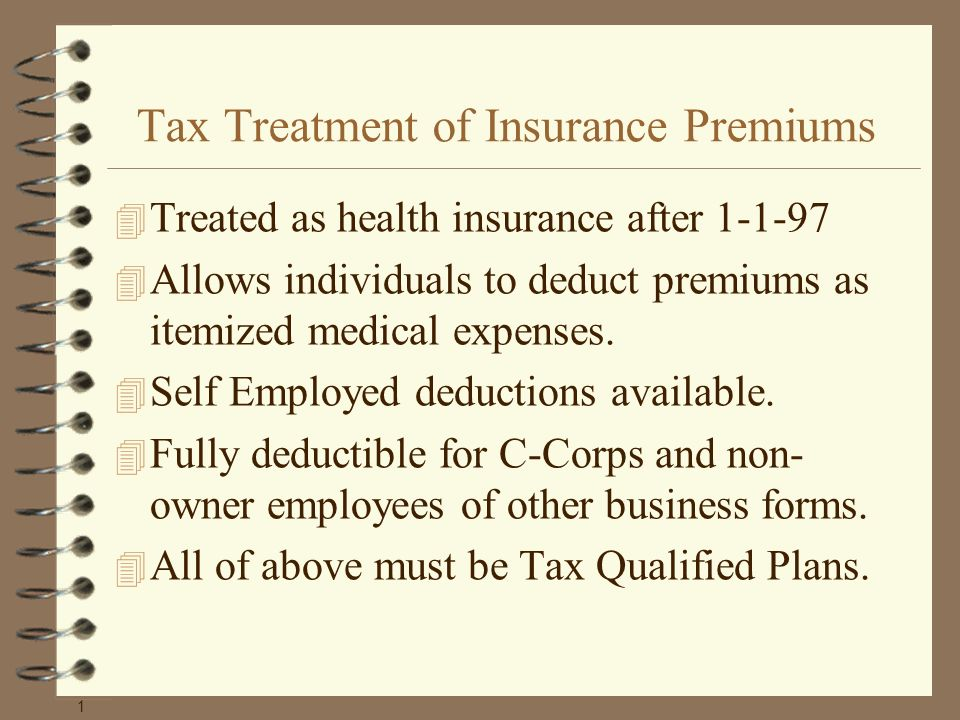 Tax Treatment of Insurance Premiums 4 Treated as health insurance after 1-1-97 4 Allows individuals to deduct premiums as itemized medical expenses.