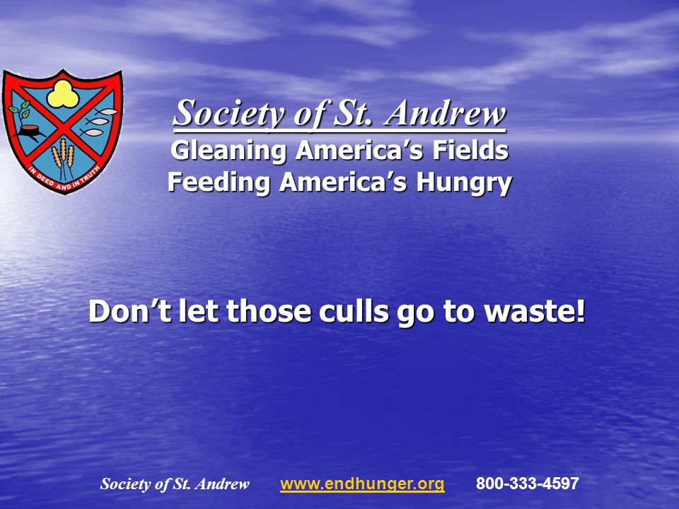 Society of St. Andrew Gleaning Americas Fields Feeding Americas Hungry Dont let those culls go to waste! Society of St. Andrew www.endhunger.org 800-3