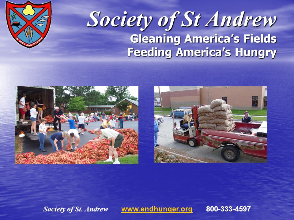 Society of St. Andrew www.endhunger.org 800-333-4597www.endhunger.org Society of St Andrew Gleaning Americas Fields Feeding Americas Hungry