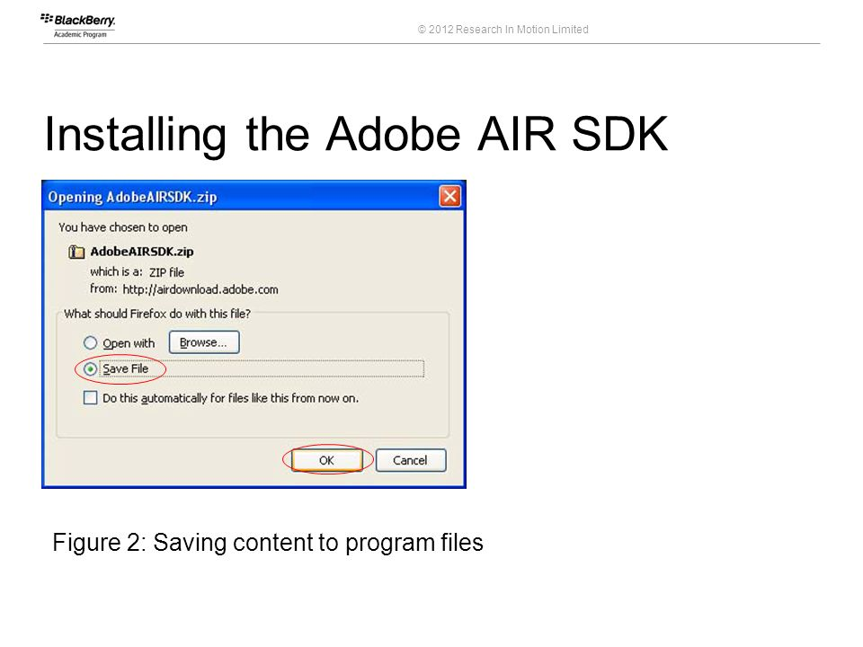 © 2012 Research In Motion Limited Installing the Adobe AIR SDK 11 Course Code Figure 2: Saving content to program files