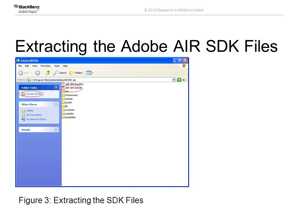 © 2012 Research In Motion Limited Extracting the Adobe AIR SDK Files 12 Course Code Figure 3: Extracting the SDK Files