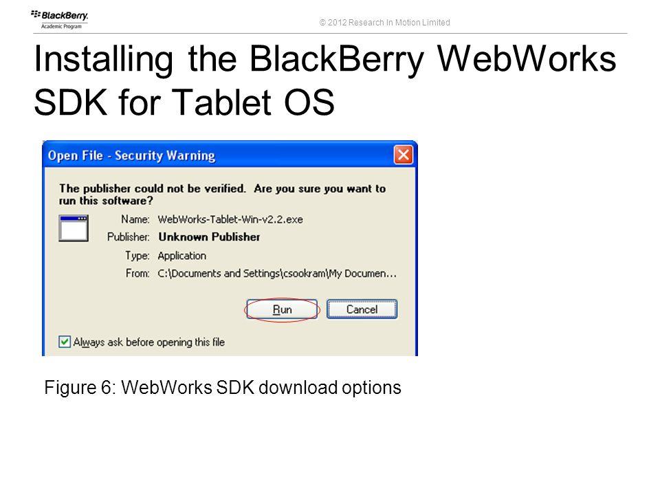 © 2012 Research In Motion Limited Installing the BlackBerry WebWorks SDK for Tablet OS 16 Course Code Figure 6: WebWorks SDK download options