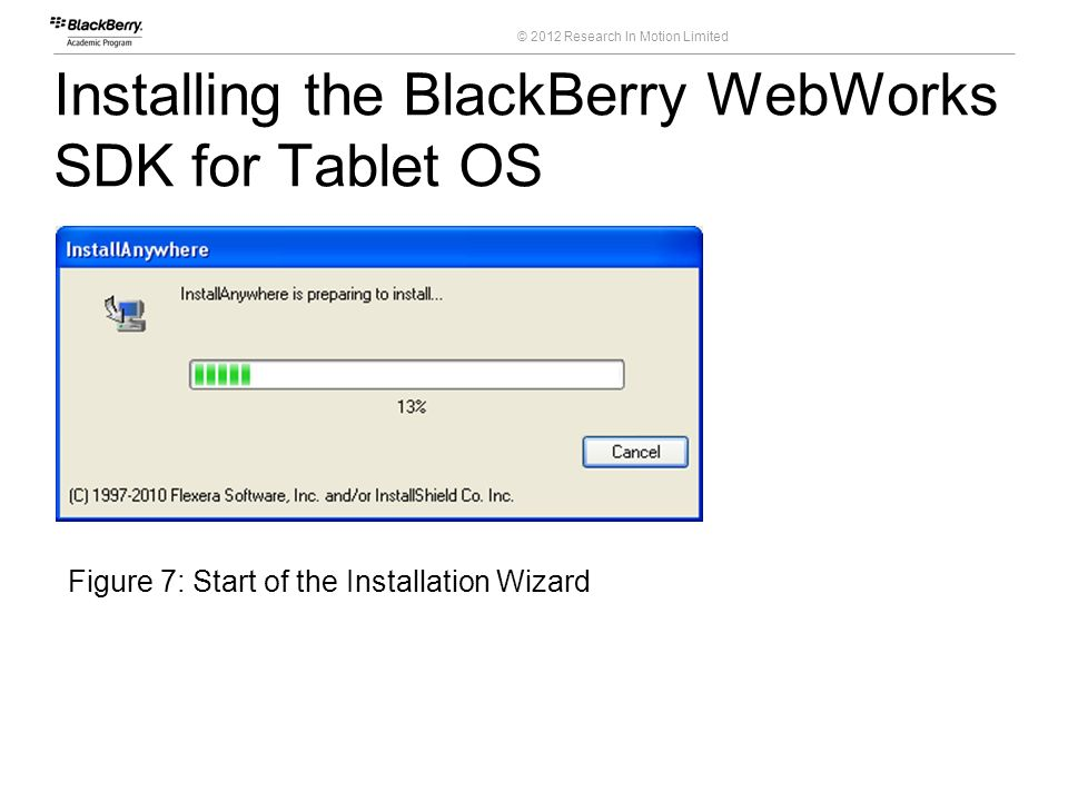 © 2012 Research In Motion Limited Installing the BlackBerry WebWorks SDK for Tablet OS 17 Course Code Figure 7: Start of the Installation Wizard
