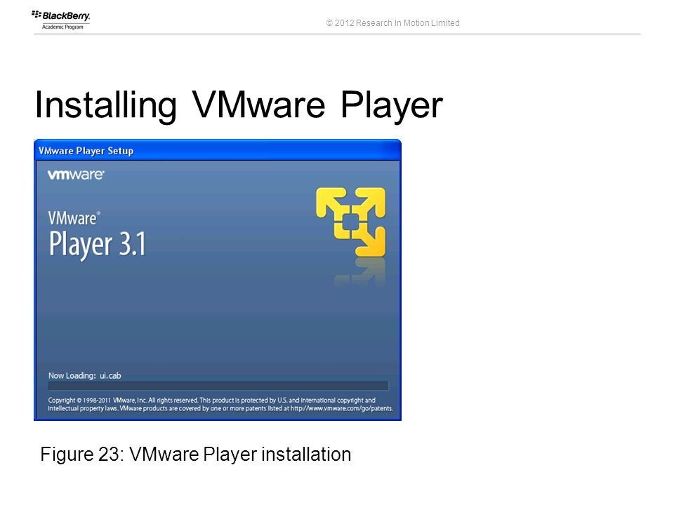 © 2012 Research In Motion Limited Installing VMware Player 39 Course Code Figure 23: VMware Player installation