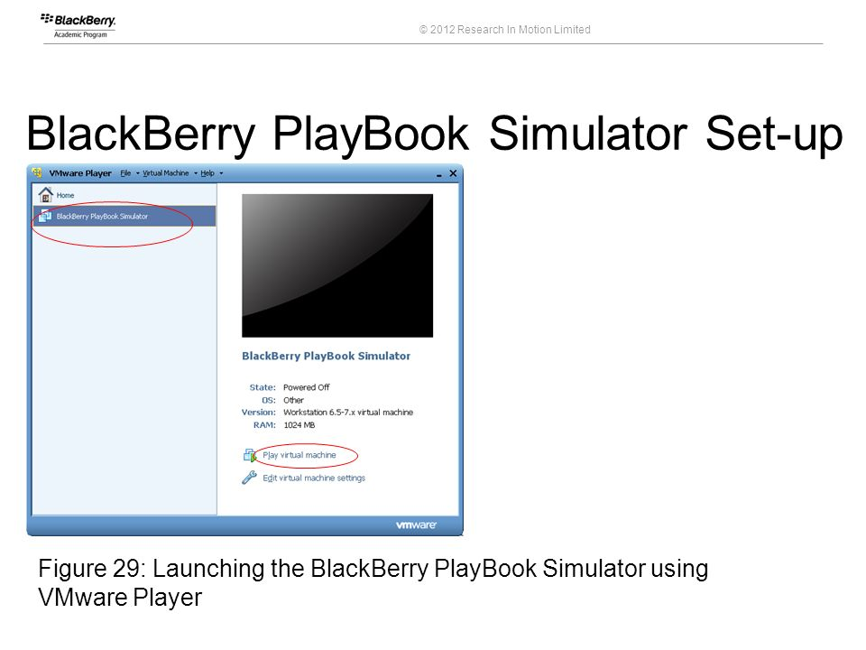 © 2012 Research In Motion Limited 46 Course Code BlackBerry PlayBook Simulator Set-up Figure 29: Launching the BlackBerry PlayBook Simulator using VMw
