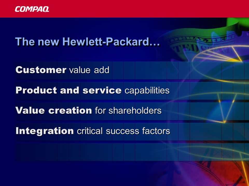 Customer value add Product and service capabilities Value creation for shareholders Integration critical success factors The new Hewlett-Packard…