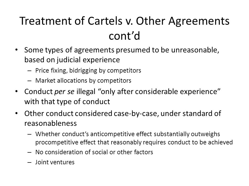 Treatment of Cartels v.