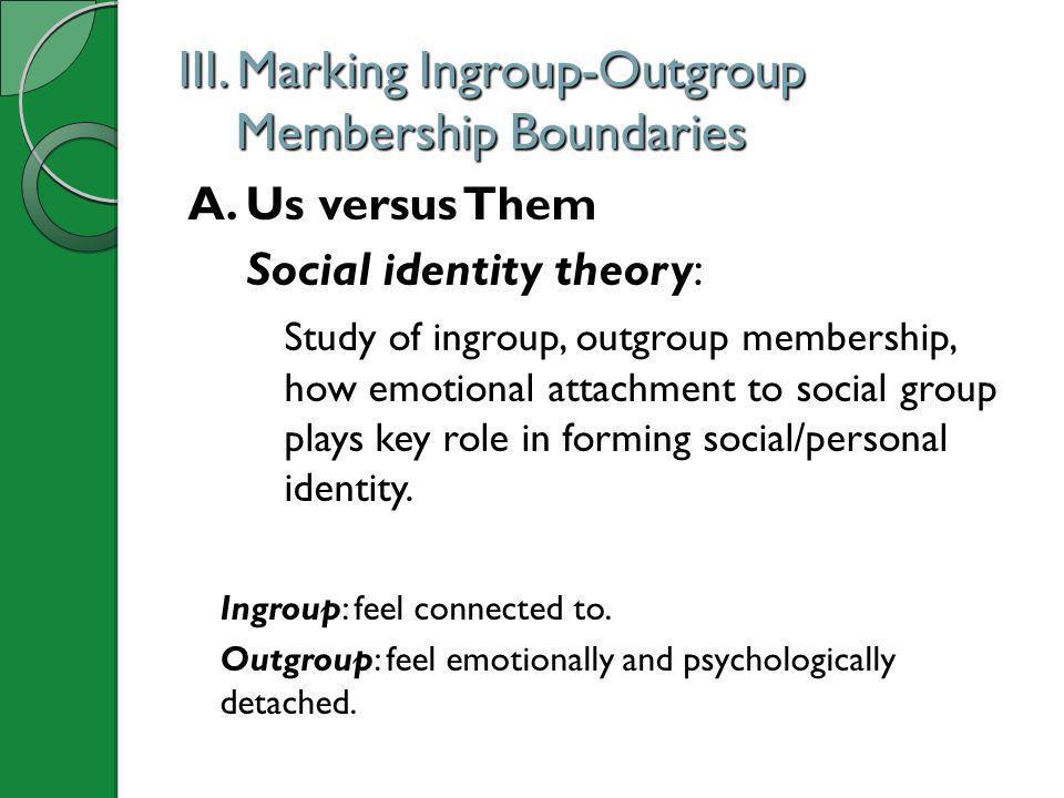 III. Marking Ingroup-Outgroup Membership Boundaries A. Us versus Them Social identity theory: Study of ingroup, outgroup membership, how emotional att