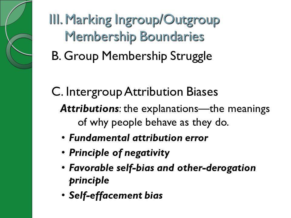 III. Marking Ingroup/Outgroup Membership Boundaries B. Group Membership Struggle C. Intergroup Attribution Biases Attributions: the explanationsthe me