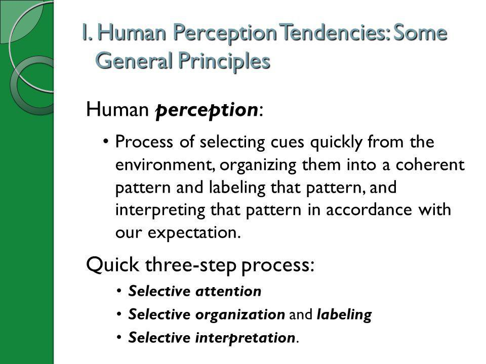 I. Human Perception Tendencies: Some General Principles Human perception: Process of selecting cues quickly from the environment, organizing them into