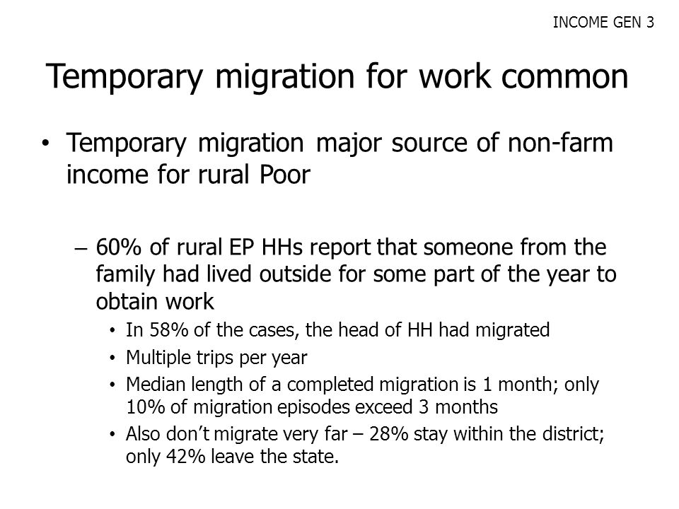 Temporary migration for work common Temporary migration major source of non-farm income for rural Poor – 60% of rural EP HHs report that someone from