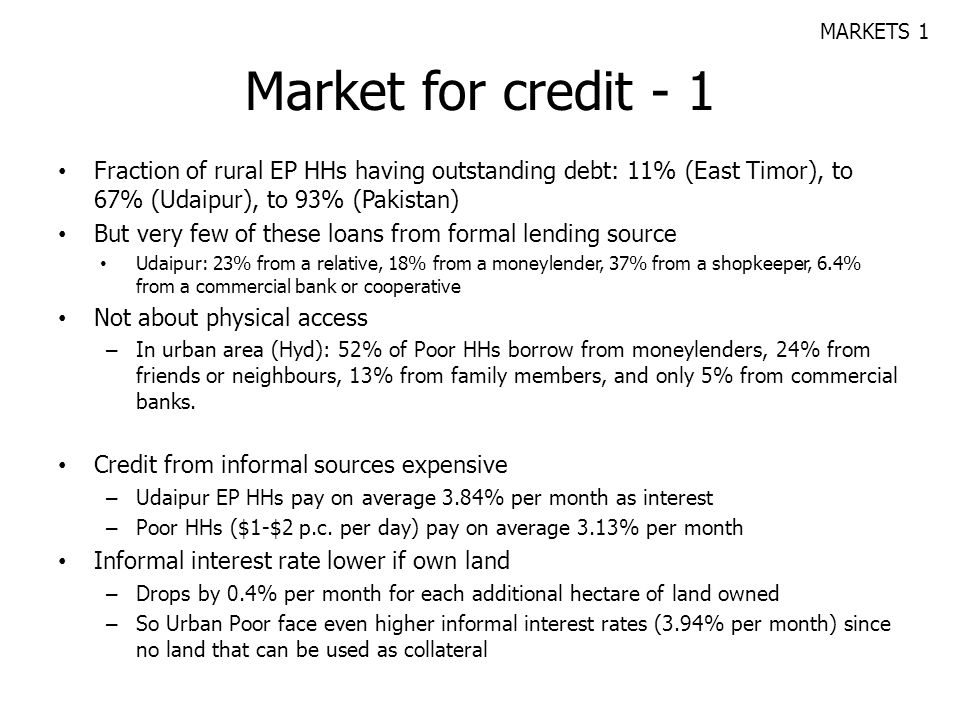 Market for credit - 1 Fraction of rural EP HHs having outstanding debt: 11% (East Timor), to 67% (Udaipur), to 93% (Pakistan) But very few of these lo