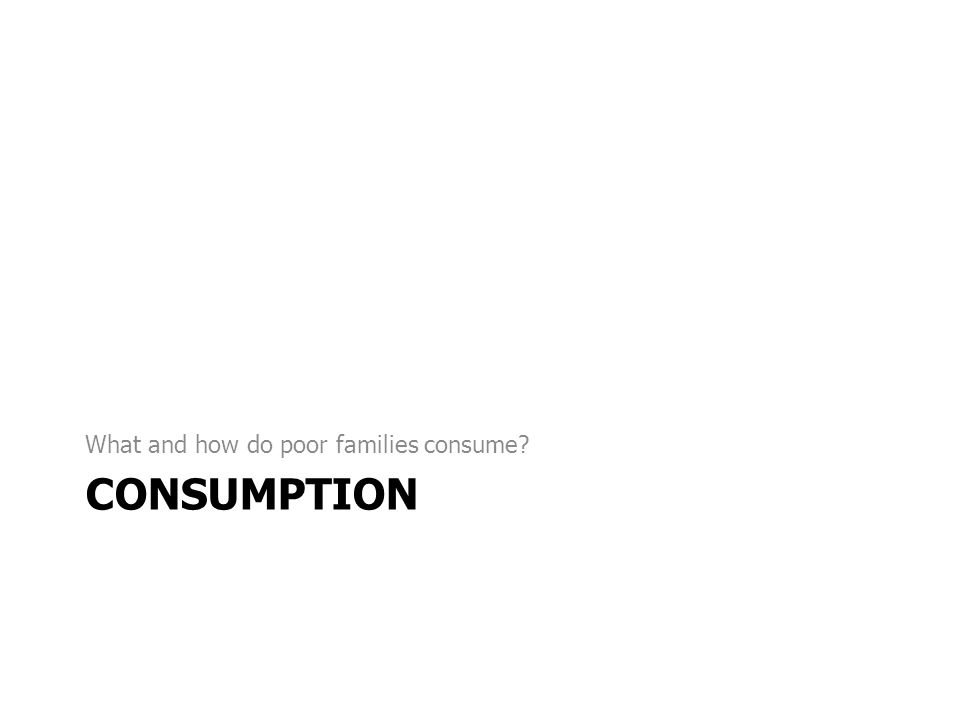 CONSUMPTION What and how do poor families consume?