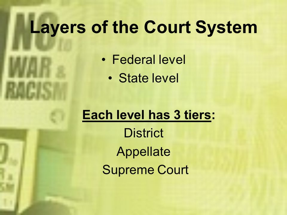 Layers of the Court System Federal level State level Each level has 3 tiers: District Appellate Supreme Court