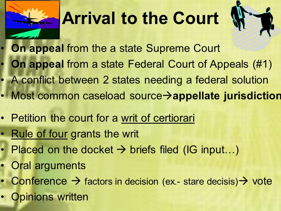 Arrival to the Court On appeal from the a state Supreme Court On appeal from a state Federal Court of Appeals (#1) A conflict between 2 states needing