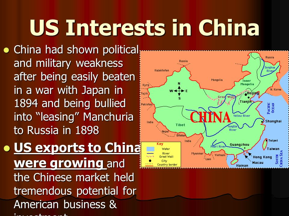 US Interests in China China had shown political and military weakness after being easily beaten in a war with Japan in 1894 and being bullied into lea