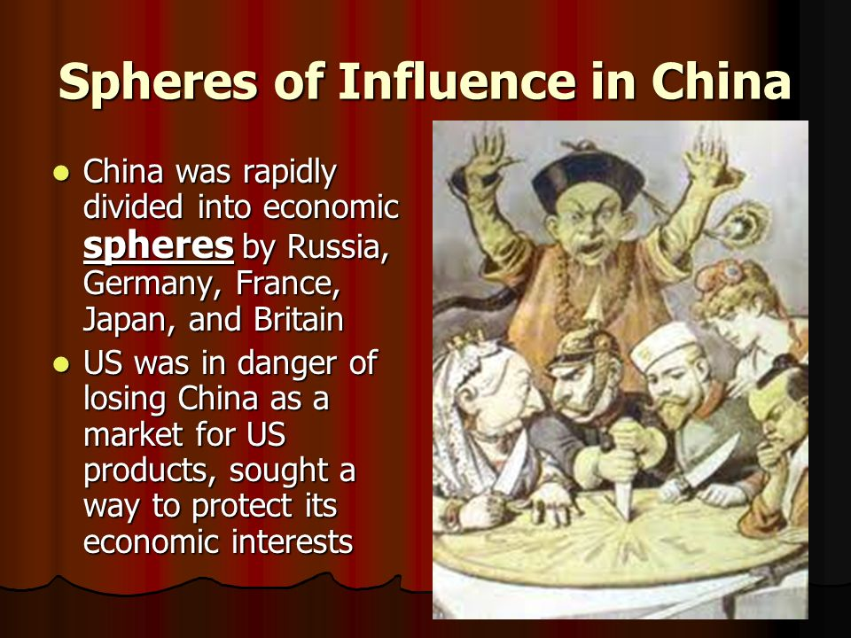 Spheres of Influence in China China was rapidly divided into economic spheres by Russia, Germany, France, Japan, and Britain China was rapidly divided