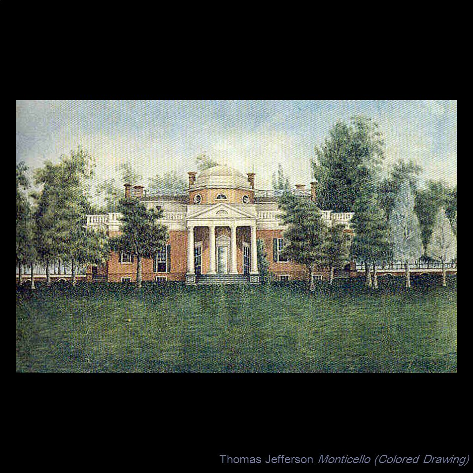 Thomas Jefferson Monticello (Colored Drawing)