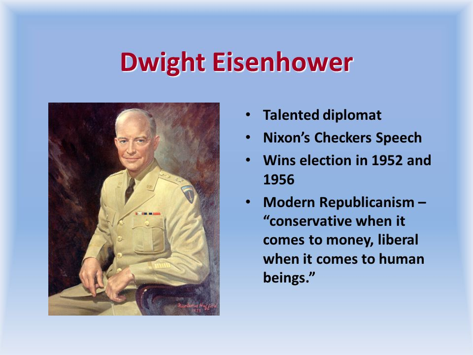 Eisenhower Charts a Middle Path Ike defeated Adlai Stevenson in the Election of 1952 World War II general Did not repeal existing New Deal programs, s