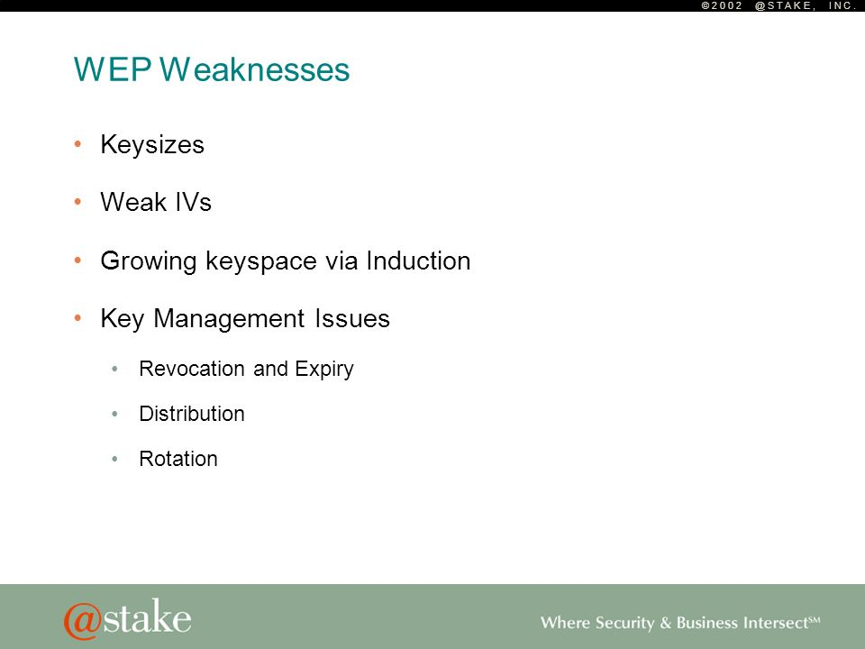 © 2 0 0 2 @ S T A K E, I N C. WEP Weaknesses Keysizes Weak IVs Growing keyspace via Induction Key Management Issues Revocation and Expiry Distribution