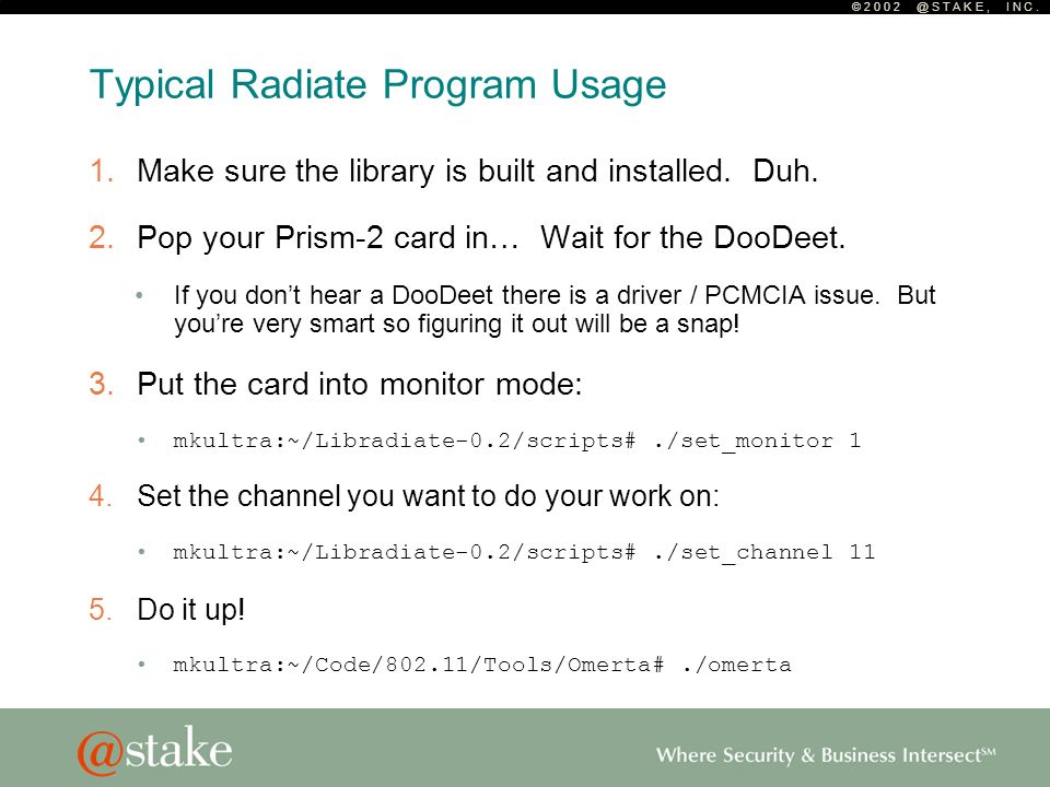 © 2 0 0 2 @ S T A K E, I N C. Typical Radiate Program Usage 1.Make sure the library is built and installed. Duh. 2.Pop your Prism-2 card in… Wait for