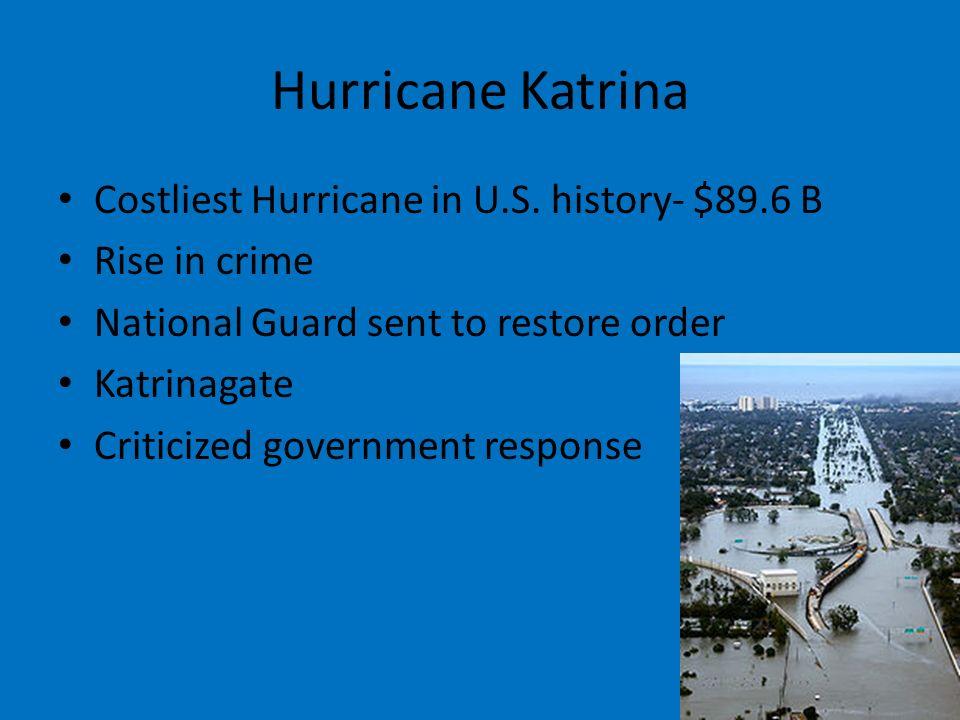 Hurricane Katrina Costliest Hurricane in U.S. history- $89.6 B Rise in crime National Guard sent to restore order Katrinagate Criticized government re