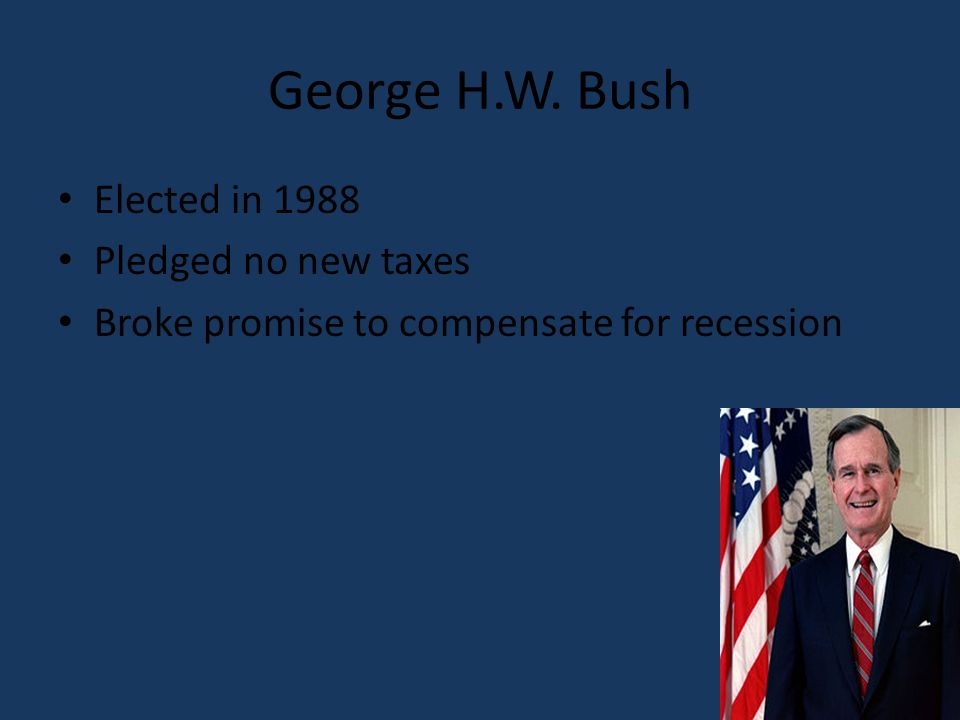 George H.W. Bush Elected in 1988 Pledged no new taxes Broke promise to compensate for recession