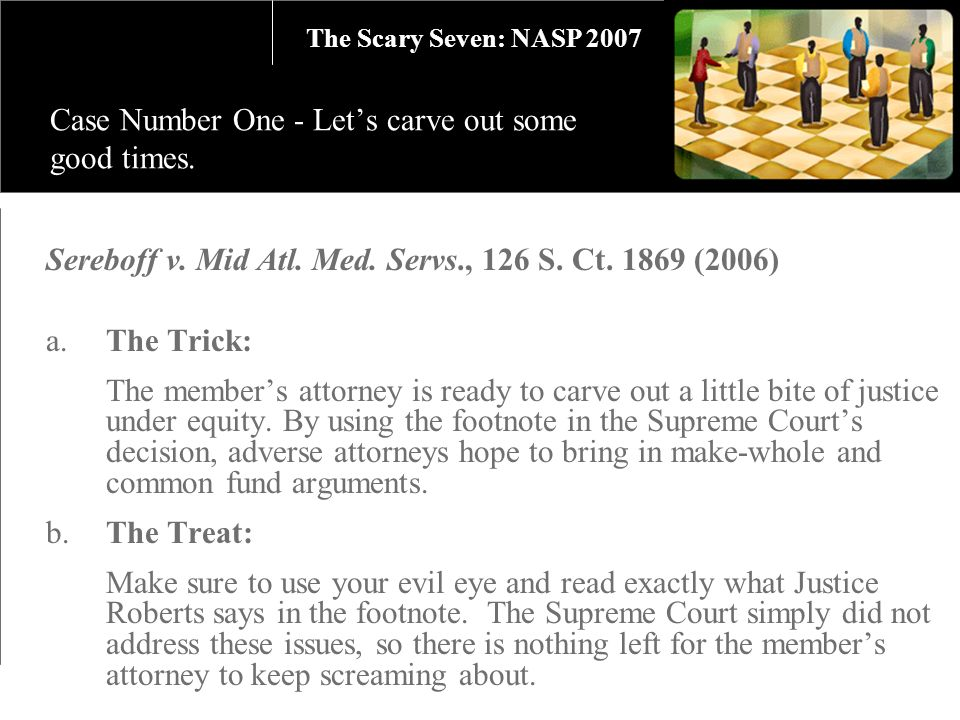 Sereboff v. Mid Atl. Med. Servs., 126 S. Ct. 1869 (2006) a.The Trick: The members attorney is ready to carve out a little bite of justice under equity