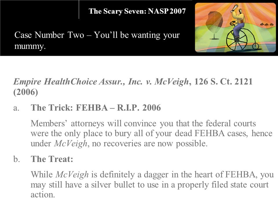 Empire HealthChoice Assur., Inc. v. McVeigh, 126 S. Ct. 2121 (2006) a.The Trick: FEHBA – R.I.P. 2006 Members attorneys will convince you that the fede