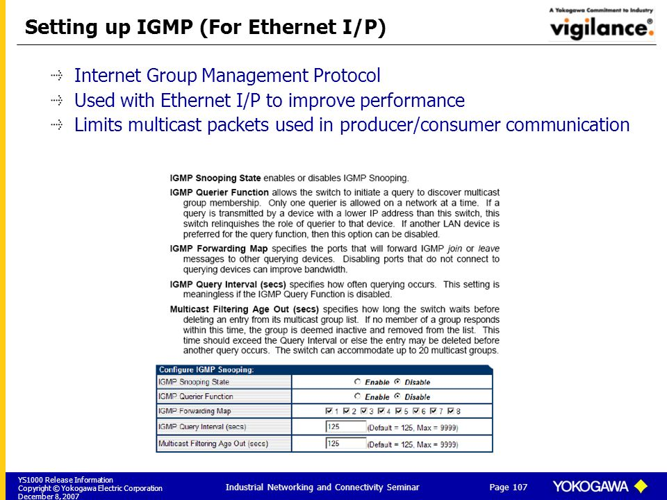 YS1000 Release Information Copyright © Yokogawa Electric Corporation December 8, 2007 Page 107 Industrial Networking and Connectivity Seminar Setting up IGMP (For Ethernet I/P) Internet Group Management Protocol Used with Ethernet I/P to improve performance Limits multicast packets used in producer/consumer communication