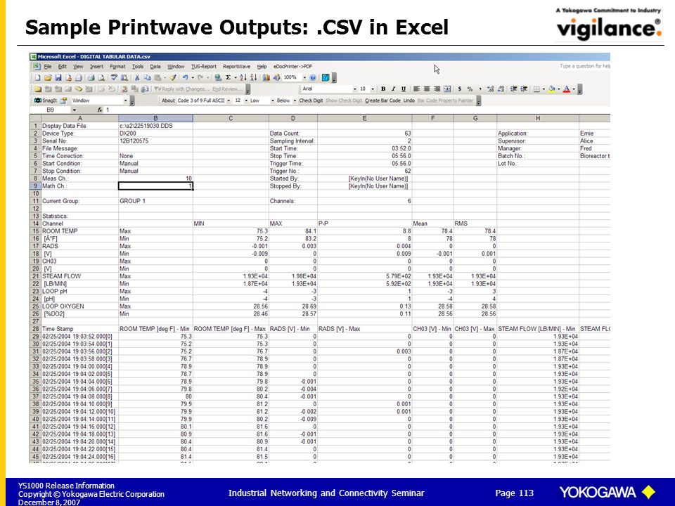 YS1000 Release Information Copyright © Yokogawa Electric Corporation December 8, 2007 Page 113 Industrial Networking and Connectivity Seminar Sample Printwave Outputs:.CSV in Excel