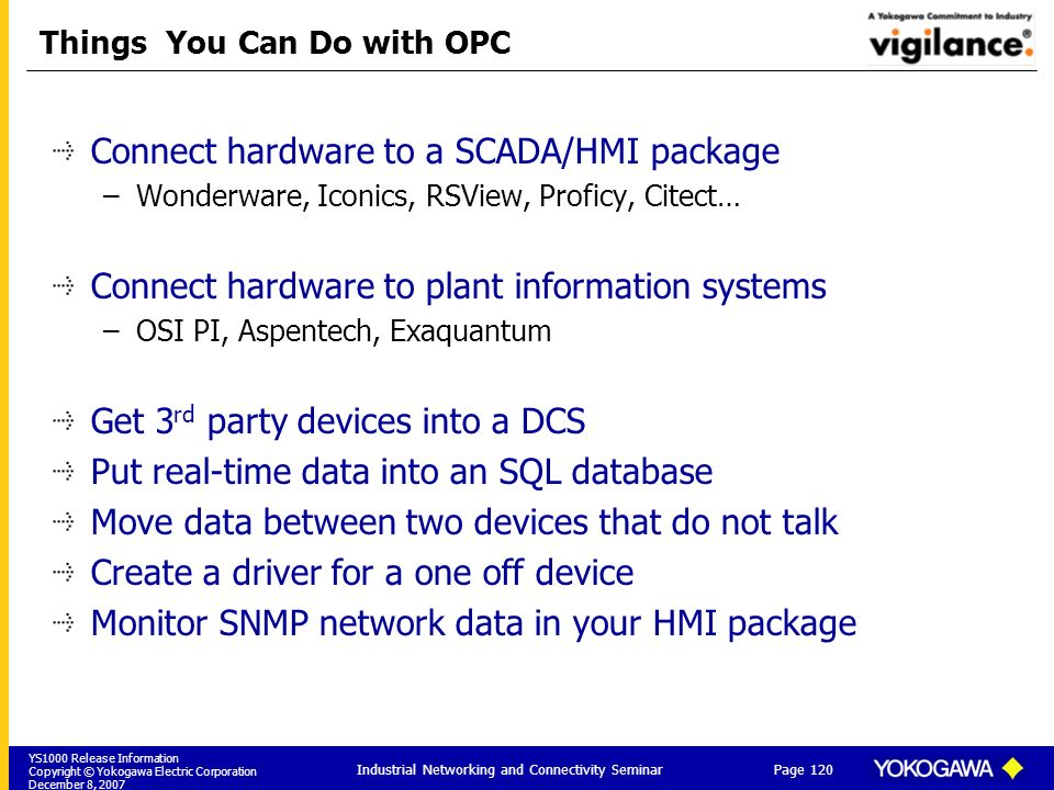 YS1000 Release Information Copyright © Yokogawa Electric Corporation December 8, 2007 Page 120 Industrial Networking and Connectivity Seminar Things You Can Do with OPC Connect hardware to a SCADA/HMI package –Wonderware, Iconics, RSView, Proficy, Citect… Connect hardware to plant information systems –OSI PI, Aspentech, Exaquantum Get 3 rd party devices into a DCS Put real-time data into an SQL database Move data between two devices that do not talk Create a driver for a one off device Monitor SNMP network data in your HMI package