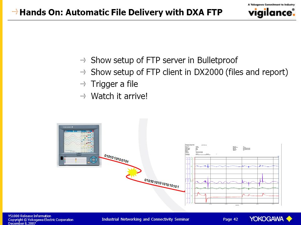YS1000 Release Information Copyright © Yokogawa Electric Corporation December 8, 2007 Page 42 Industrial Networking and Connectivity Seminar Hands On: Automatic File Delivery with DXA FTP Show setup of FTP server in Bulletproof Show setup of FTP client in DX2000 (files and report) Trigger a file Watch it arrive!