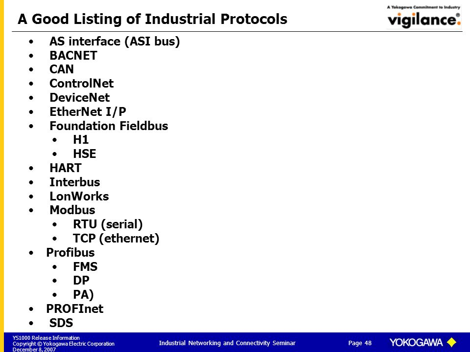 YS1000 Release Information Copyright © Yokogawa Electric Corporation December 8, 2007 Page 48 Industrial Networking and Connectivity Seminar A Good Listing of Industrial Protocols AS interface (ASI bus) BACNET CAN ControlNet DeviceNet EtherNet I/P Foundation Fieldbus H1 HSE HART Interbus LonWorks Modbus RTU (serial) TCP (ethernet) Profibus FMS DP PA) PROFInet SDS