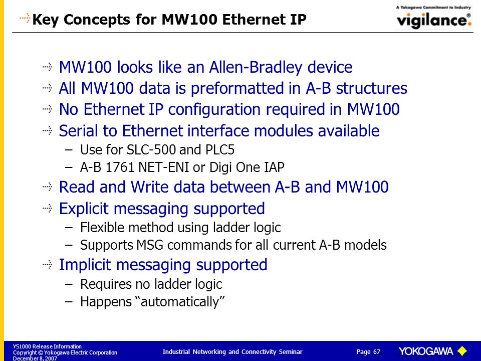 YS1000 Release Information Copyright © Yokogawa Electric Corporation December 8, 2007 Page 67 Industrial Networking and Connectivity Seminar Key Conce