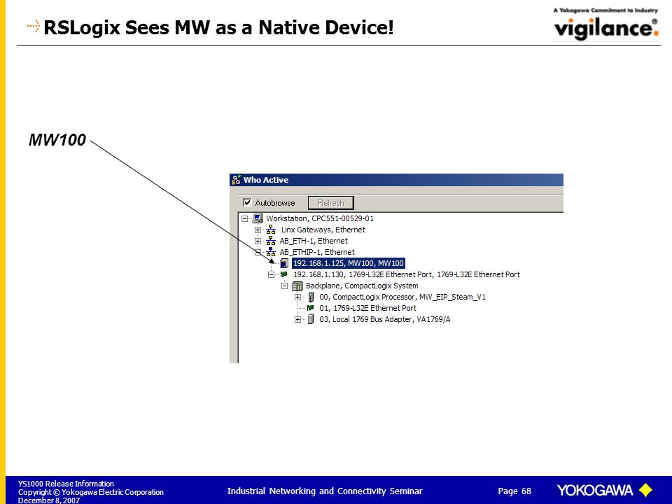 YS1000 Release Information Copyright © Yokogawa Electric Corporation December 8, 2007 Page 68 Industrial Networking and Connectivity Seminar RSLogix Sees MW as a Native Device.