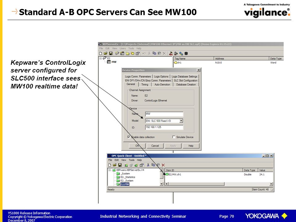 YS1000 Release Information Copyright © Yokogawa Electric Corporation December 8, 2007 Page 70 Industrial Networking and Connectivity Seminar Standard A-B OPC Servers Can See MW100 Kepwares ControlLogix server configured for SLC500 interface sees MW100 realtime data!