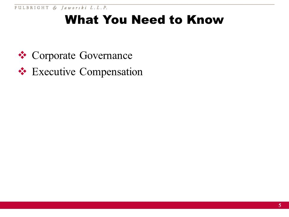 5 What You Need to Know Corporate Governance Executive Compensation