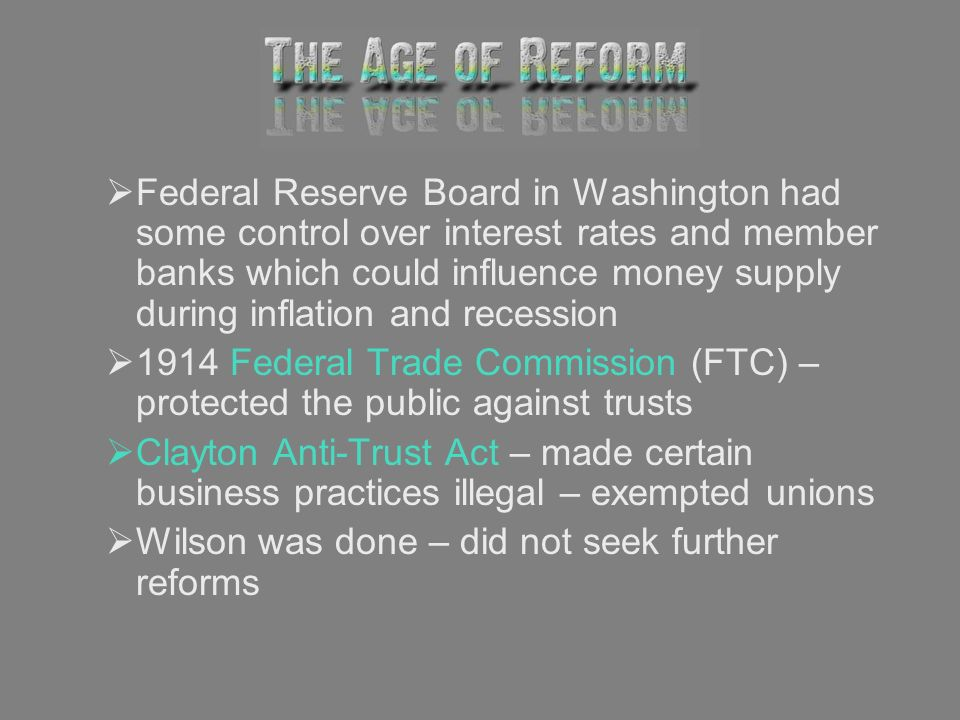 Federal Reserve Board in Washington had some control over interest rates and member banks which could influence money supply during inflation and rece