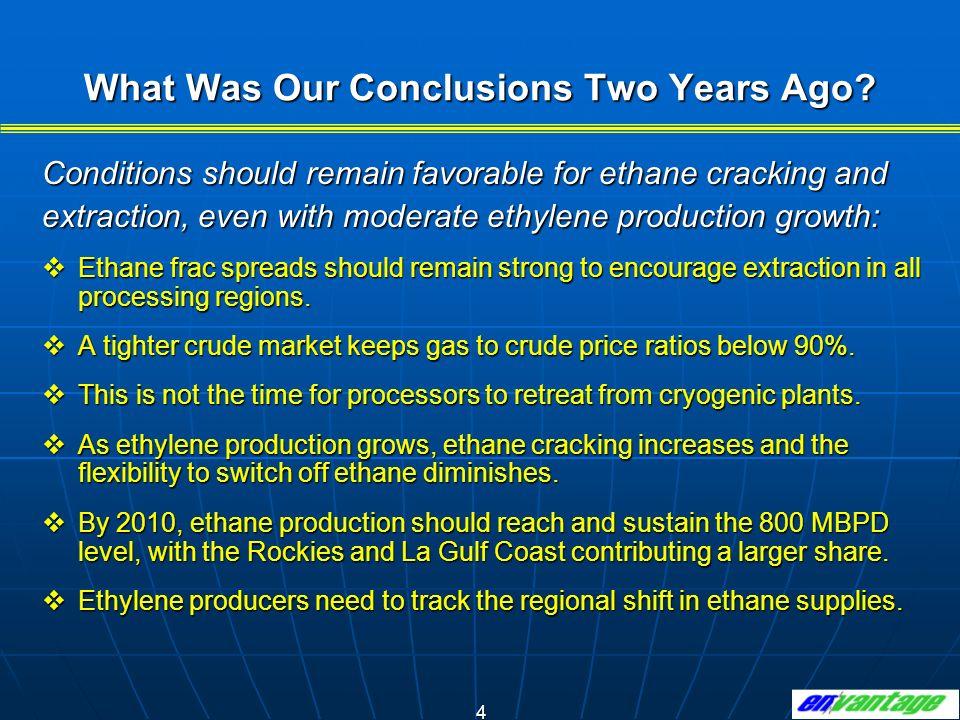 15 Ethane cracking, as compared to alternative ethylene feedstocks, is definitely trending downward.
