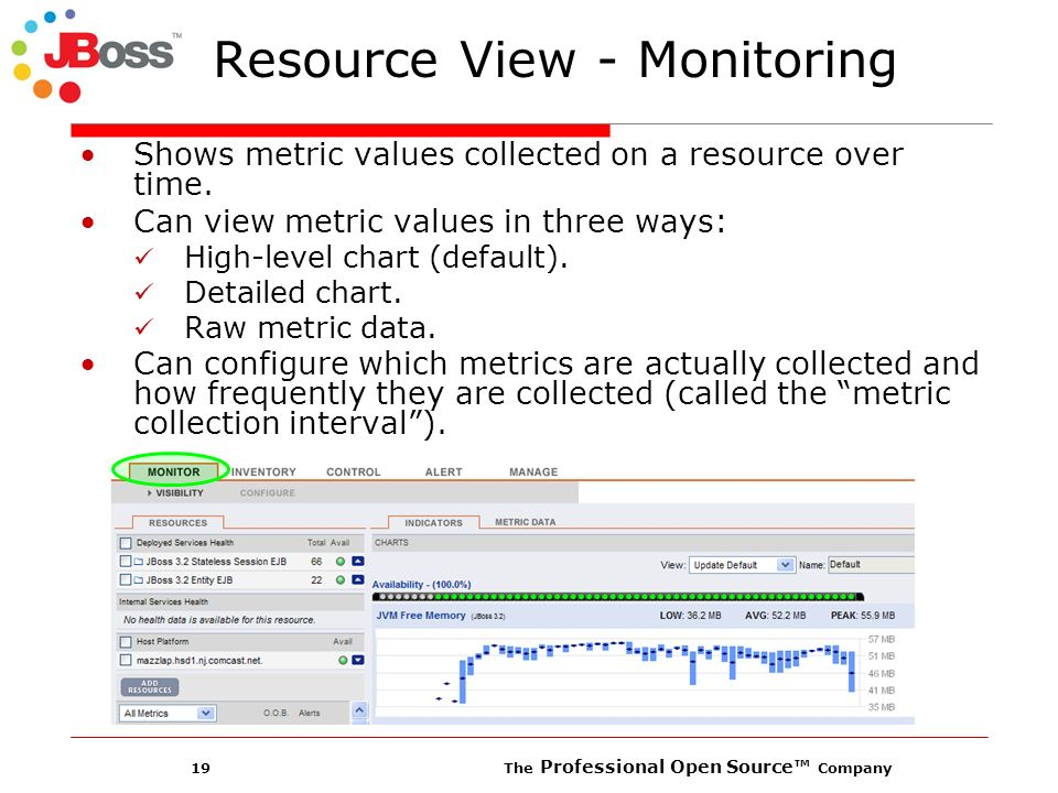19 The Professional Open Source Company Resource View - Monitoring Shows metric values collected on a resource over time.