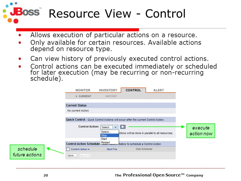 20 The Professional Open Source Company Resource View - Control Allows execution of particular actions on a resource.
