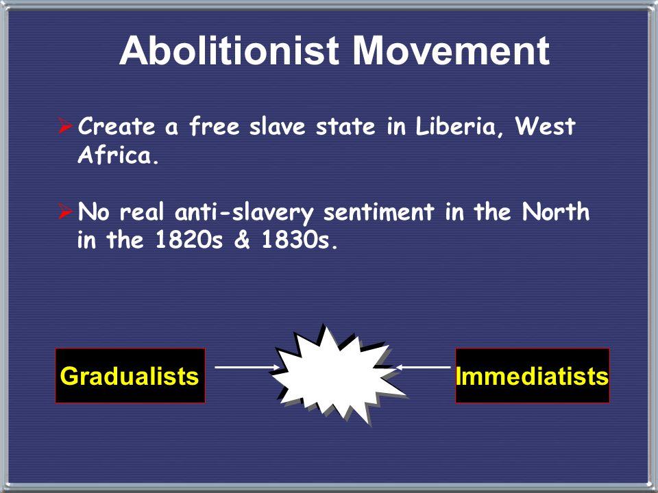 Abolitionist Movement 1816 --> 4. American Colonization Society Aimed for gradual, voluntary emancipation. British Colonization Society symbol