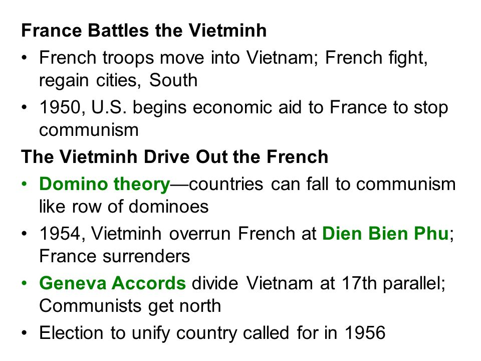 France Battles the Vietminh French troops move into Vietnam; French fight, regain cities, South 1950, U.S. begins economic aid to France to stop commu
