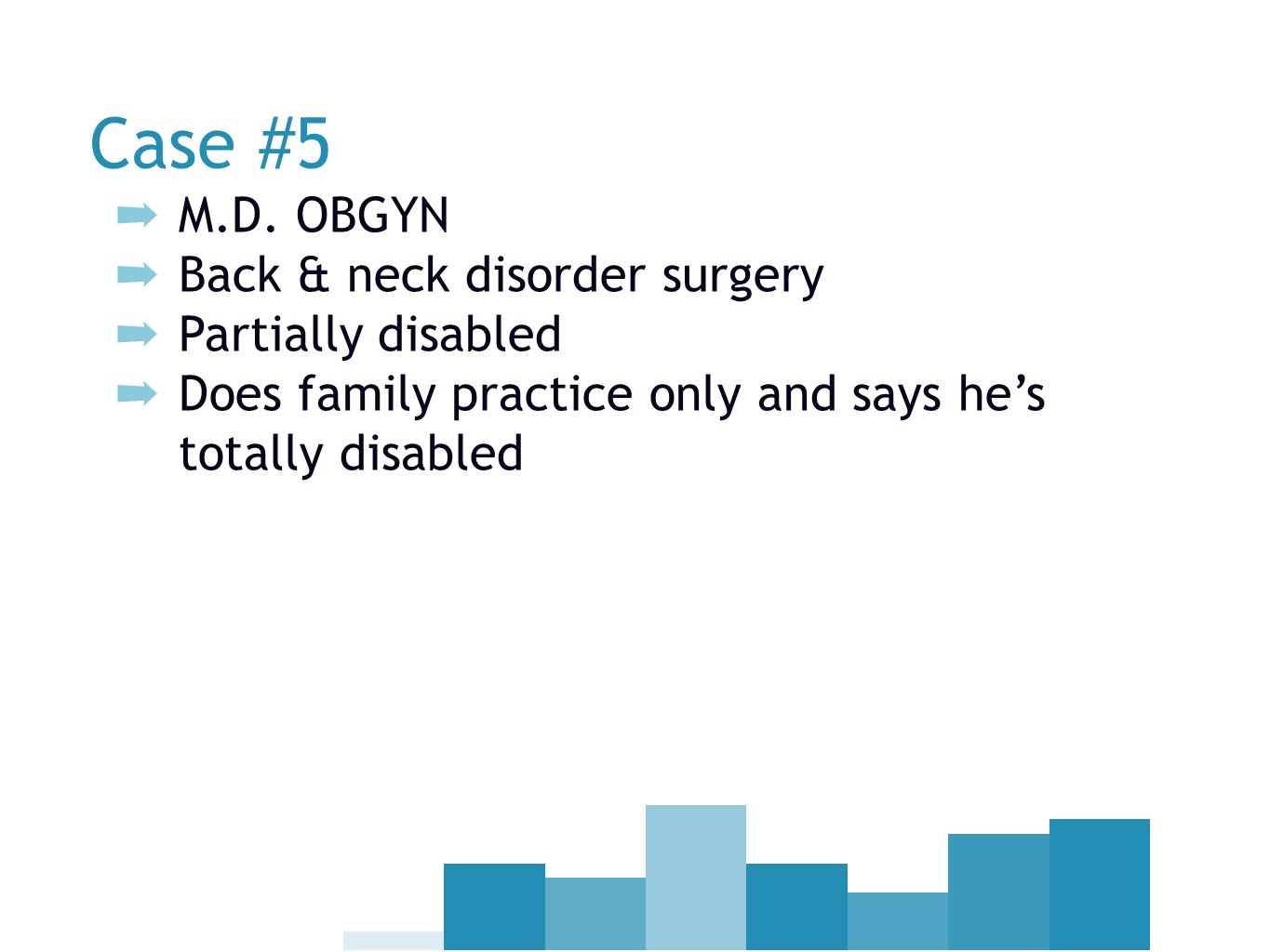 Case #5 M.D. OBGYN Back & neck disorder surgery Partially disabled Does family practice only and says hes totally disabled